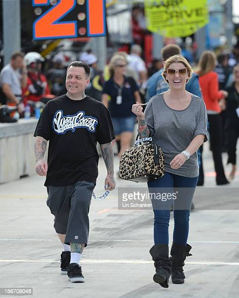 Ryan Friedlinghaus and his wife are sighted at the NASCAR Sprint Cup Series Ford Ecoboost 400 at HomesteadMiami Speedway on November 18 2012 in...
