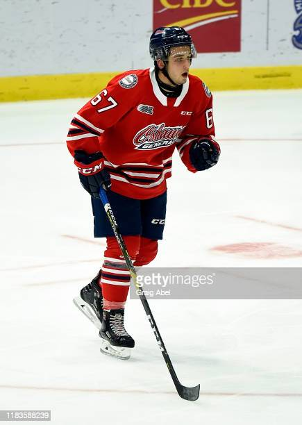 Ryan Gagnier of the Oshawa Generals skates against the Mississauga Steelheads during game action on October 25 2019 at Paramount Fine Foods Centre in...