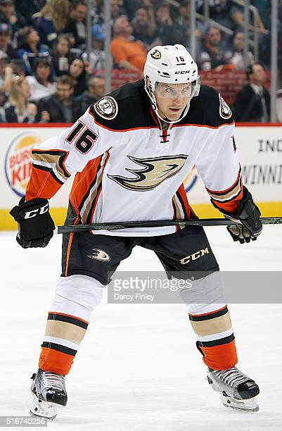 Ryan Garbutt of the Anaheim Ducks looks on as he gets set for a third period faceoff against the Winnipeg Jets at the MTS Centre on March 20 2016 in...