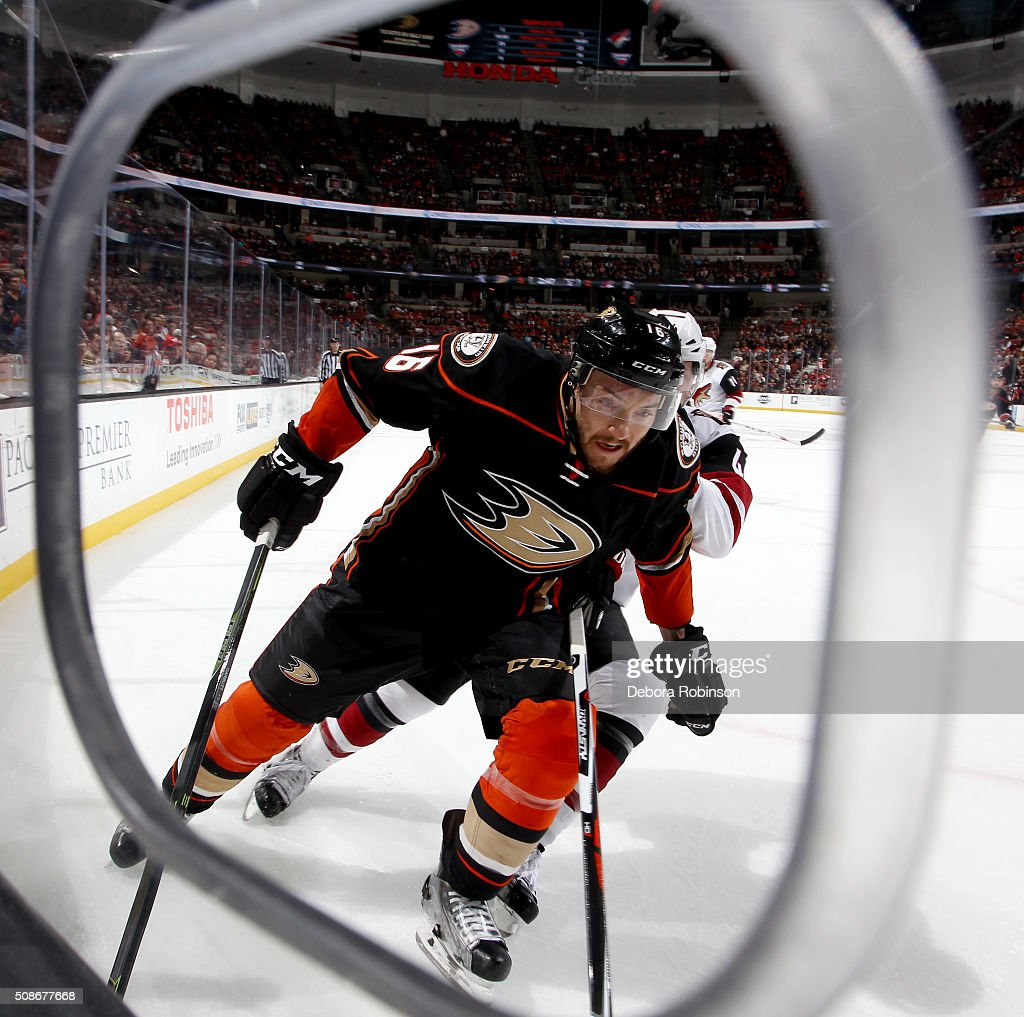 Ryan Garbutt #16 of the Anaheim Ducks skates during the game against the Arizona Coyotes on February 5, 2016 at Honda Center in Anaheim, California.