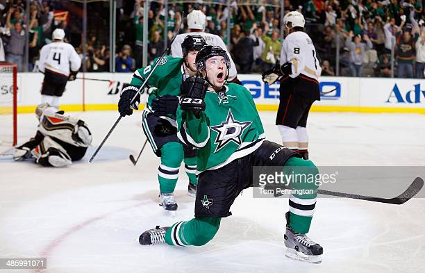 Ryan Garbutt of the Dallas Stars celebrates after scoring a goal against the Anaheim Ducks in the third period in Game Three of the First Round of...