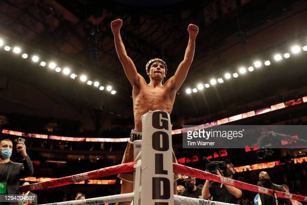 Ryan Garcia celebrates after defeating Luke Campbell during the WBC Interim Lightweight Title fight at American Airlines Center on January 02, 2021...