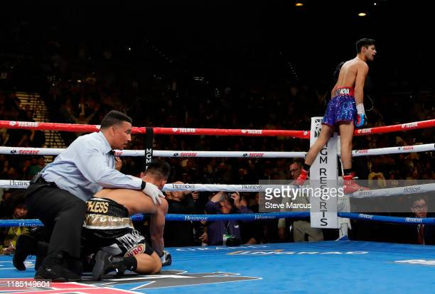 Ryan Garcia celebrates after knocking down Romero Duno in the first round of a lightweight fight at MGM Grand Garden Arena on November 2, 2019 in Las...