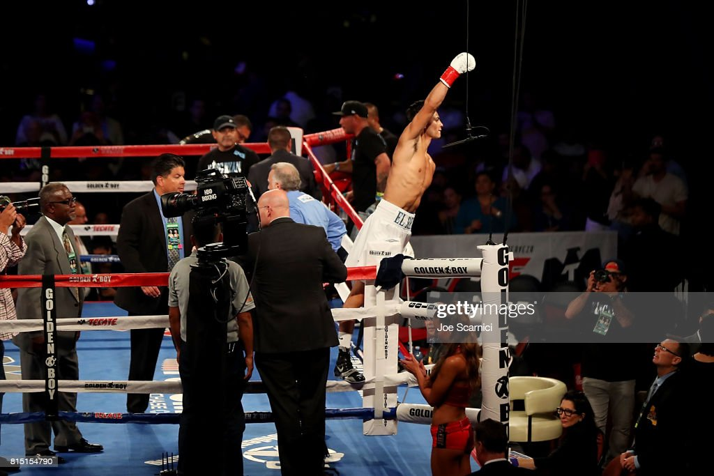 Ryan Garcia celebrates his first round tko win against Mario Macias at The Forum on July 15, 2017 in Inglewood, California.