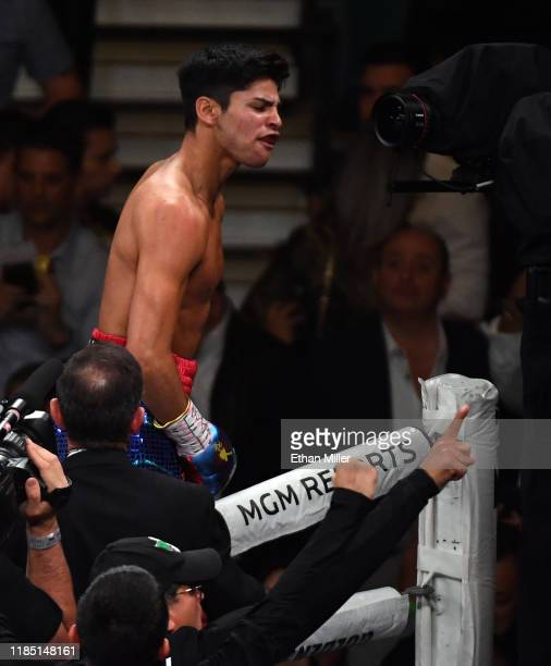 Ryan Garcia celebrates his first-round knockout victory over Romero Duno in their lightweight bout at MGM Grand Garden Arena on November 2, 2019 in...