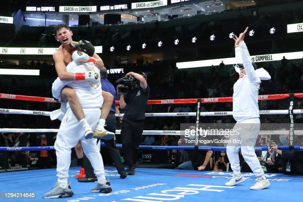 Ryan Garcia celebrates his victory against Luke Campbell at American Airlines Center on January 02, 2021 in Dallas, Texas.