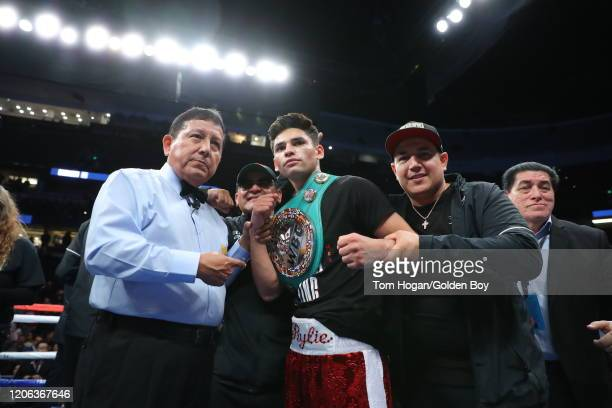 Ryan Garcia celebrates his victory over Francisco Fonseca at Honda Center on February 14, 2020 in Anaheim, California.