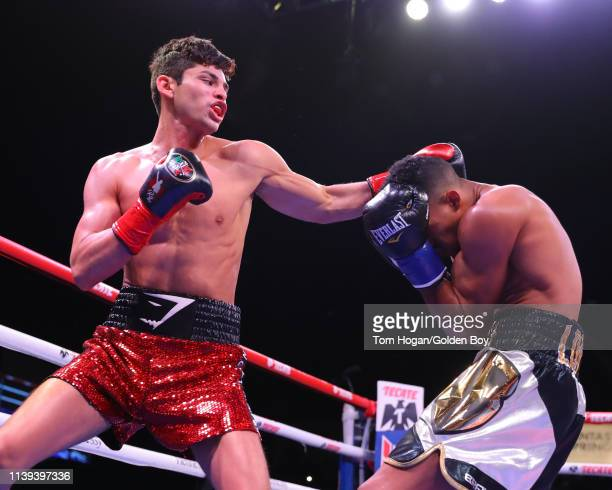 Ryan Garcia connecting his left on Jose Lopez on March 30, 2019 at Fantasy Springs Casino in Indio, CA