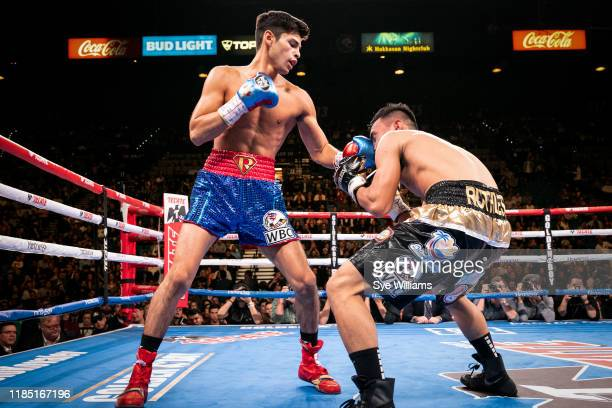 Ryan Garcia delivers a left hook to Romero Duno during their fight at the MGM Grand Garden Arena on November 2, 2019 in Las Vegas, Nevada. Garcia won...