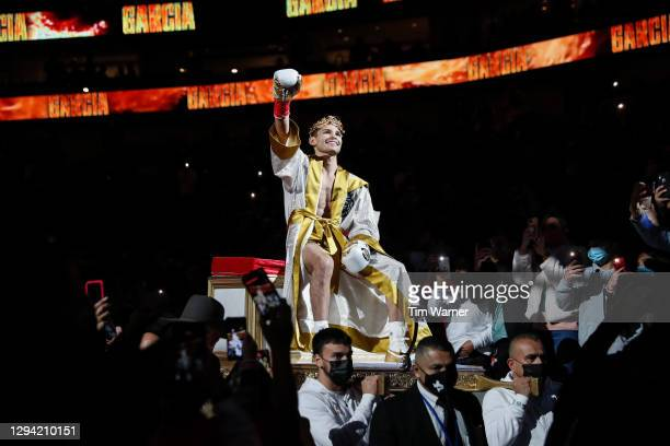 Ryan Garcia enters the arena prior to the WBC Interim Lightweight Title fight against Luke Campbell at American Airlines Center on January 02, 2021...