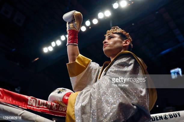 Ryan Garcia enters the ring before the WBC Interim Lightweight Title fight against Luke Campbell at American Airlines Center on January 02, 2021 in...
