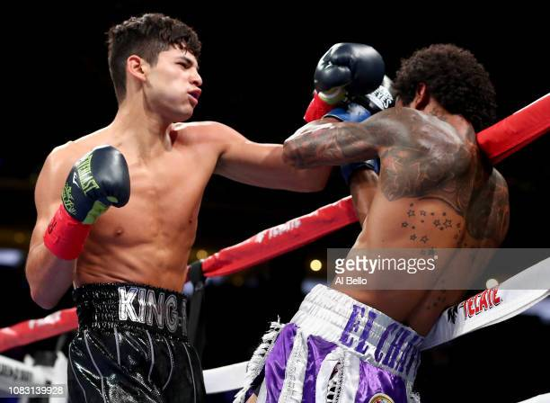 Ryan Garcia fights Braulio Rodriguez during their Super Featherweight bout at Madison Square Garden on December 15, 2018 in New York City.