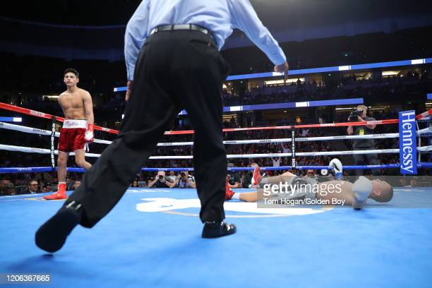Ryan Garcia knocks out Francisco Fonseca at the Honda Center on February 14, 2020 in Anaheim, California.