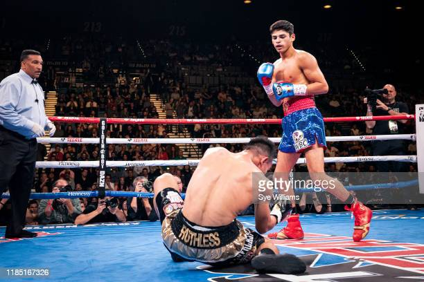 Ryan Garcia knocks out Romero Duno in round one during their fight at the MGM Grand Garden Arena on November 2, 2019 in Las Vegas, Nevada. Garcia won...