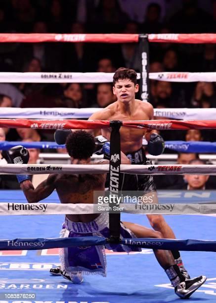Ryan Garcia KO's Braulio Rodriguez during their Lightweights match at Madison Square Garden on December 15, 2018 in New York City.