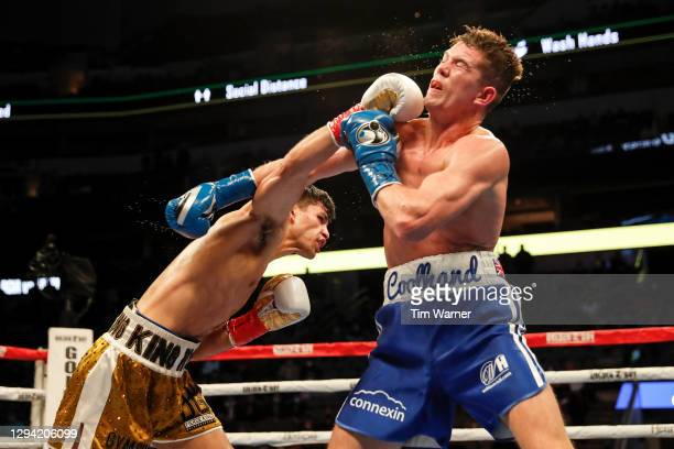 Ryan Garcia lands a right against Luke Campbell during the WBC Interim Lightweight Title fight at American Airlines Center on January 02, 2021 in...