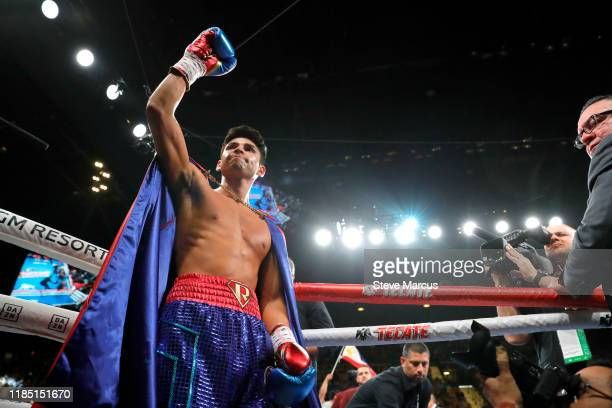 Ryan Garcia makes his ring entrance for a lightweight fight against Romero Duno at MGM Grand Garden Arena on November 2, 2019 in Las Vegas, Nevada....