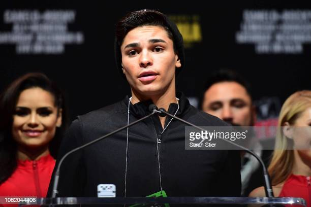 Ryan Garcia of the United States speaks during a press conference at Madison Square Garden on December 13, 2018 in New York City.