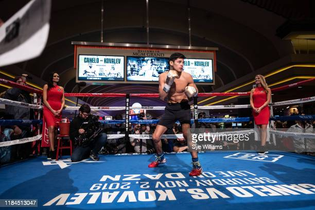 Ryan Garcia participates in a media work out at the KA Theatre at MGM Grand Hotel & Casino on October 30, 2019 in Las Vegas, Nevada.