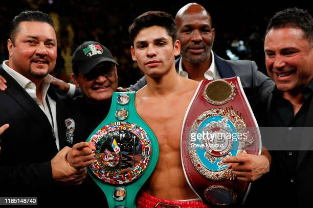 Ryan Garcia poses after defeating Romero Duno in a lightweight fight at MGM Grand Garden Arena on November 2, 2019 in Las Vegas, Nevada. Garcia won...