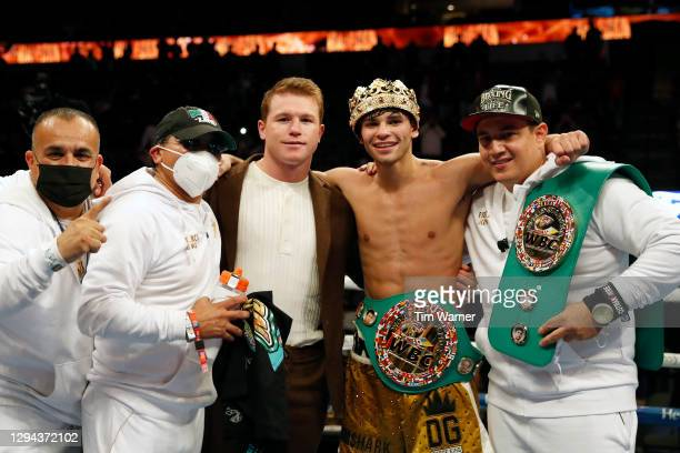 Ryan Garcia poses for photos after the WBC Interim Lightweight Title fight against Luke Campbell at American Airlines Center on January 02, 2021 in...