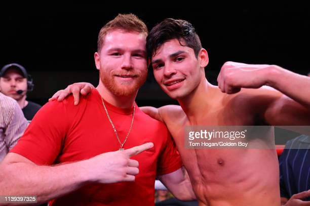 Ryan Garcia posing with Canelo Alvarez inside the ring after his win against Jose Lopez on March 30, 2019 at Fantasy Springs Casino in Indio, CA