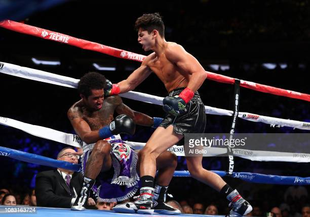 Ryan Garcia punches Braulio Rodriguez during their lightweight fight at Madison Square Garden on December 15, 2018 in New York City.