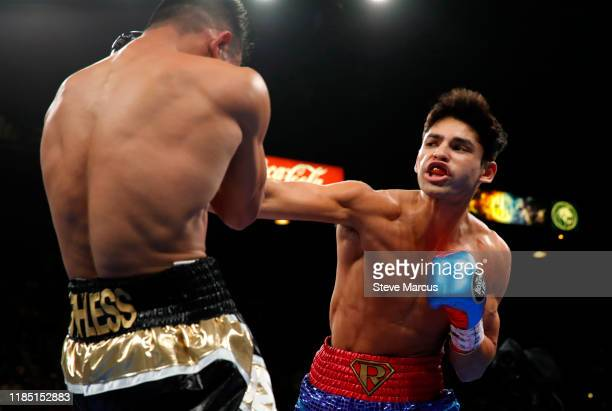 Ryan Garcia punches Romero Duno during a lightweight fight at MGM Grand Garden Arena on November 2, 2019 in Las Vegas, Nevada. Garcia won with a...
