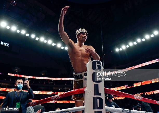 Ryan Garcia reacts after a knockout victory over Luke Campbell during the WBC Interim Lightweight Title fight at American Airlines Center on January...