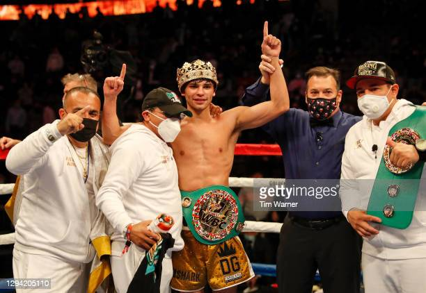 Ryan Garcia reacts after defeating Luke Campbell during the WBC Interim Lightweight Title fight at American Airlines Center on January 02, 2021 in...
