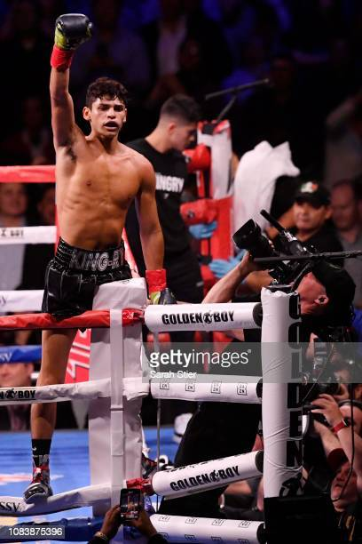 Ryan Garcia reacts after his win over Braulio Rodriguez in their Lightweights match at Madison Square Garden on December 15, 2018 in New York City.