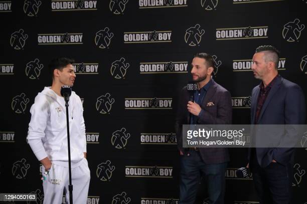 Ryan Garcia talks about his fight against Luke Campbell at the weigh in ahead of the WBC interim lightweight title at American Airlines Center on...