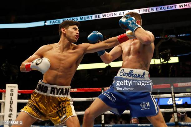 Ryan Garcia throws a left against Luke Campbell during the WBC Interim Lightweight Title fight at American Airlines Center on January 02, 2021 in...