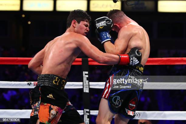 Ryan Garcia throws a punch at Jayson Velez in the sixth round during the NABF Super Featherweight Fight at StubHub Center on May 4, 2018 in Carson,...