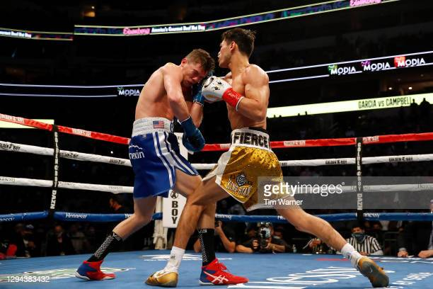 Ryan Garcia throws a right hook against Luke Campbell during the WBC Interim Lightweight Title fight at American Airlines Center on January 02, 2021...