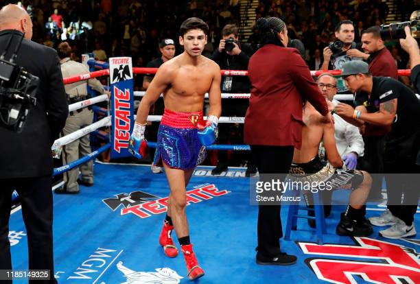 Ryan Garcia walks through the ring after knocking down Romero Duno in a lightweight fight at MGM Grand Garden Arena on November 2, 2019 in Las Vegas,...