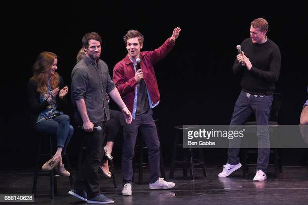Ryan Gaul Drew Tarver and Scott Aukerman perform on stage at the Comedy Bang Bang at BAM presented by Vulture Festival on May 20 2017 in New York City