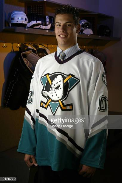 Ryan Getzlaf a first round pick of the Mighty Ducks of Anaheim stands for a portrait during the 2003 NHL Entry Draft on June 21 2003 at the Gaylord...