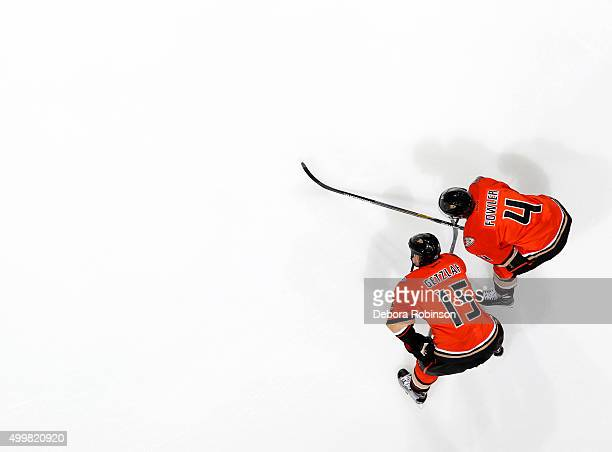 Ryan Getzlaf and Cam Fowler of the Anaheim Ducks look on during warm ups before the game against the Chicago Blackhawks on November 27 2015 at Honda...
