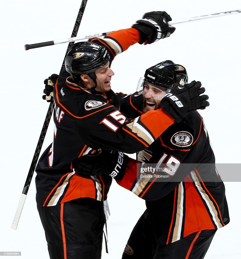 Ryan Getzlaf #15 and Patrick Maroon #19 of the Anaheim Ducks celebrate Maroon's third period goal against the Winnipeg Jets in Game Two of the Western Conference Quarterfinals between the Ducks and Jets during the 2015 NHL Stanley Cup Playoffs at Honda Center on April 18, 2015 in Anaheim, California.
