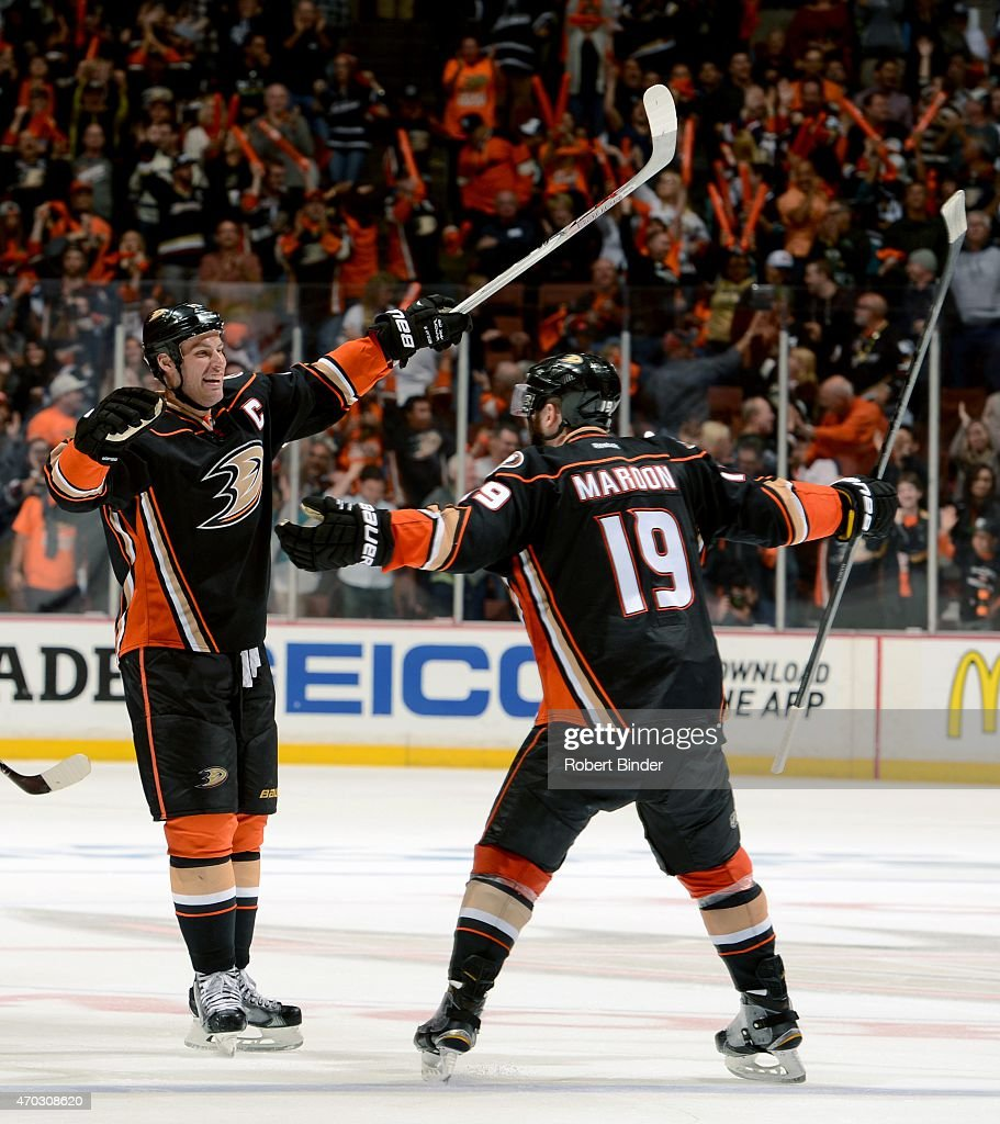 Ryan Getzlaf #15 and Patrick Maroon #19 of the Anaheim Ducks celebrate Maroon's third period goal against Winnipeg Jets in Game Two of the Western Conference Quarterfinals between the Ducks and Jets during the 2015 NHL Stanley Cup Playoffs at Honda Center on April 18, 2015 in Anaheim, California.