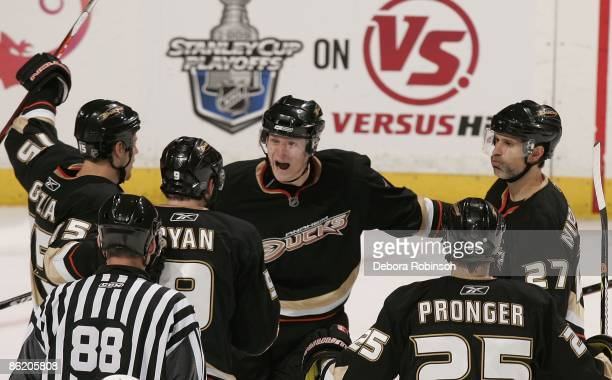 Ryan Getzlaf, Corey Perry, Scott Niedermayer, Chris Pronger and Bobby Ryan of the Anaheim Ducks celebrate a second goal in the second period by Bobby...