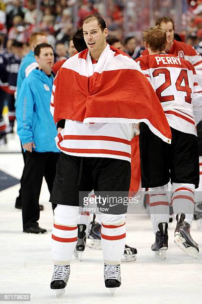 Ryan Getzlaf of Canada celebrates following his team's 3-2 overtime victory during the ice hockey men's gold medal game between USA and Canada on day...