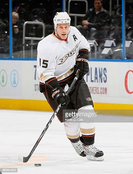 Ryan Getzlaf of the Anaheim Ducks against the Atlanta Thrashers at Philips Arena on January 26, 2010 in Atlanta, Georgia.