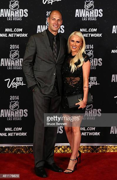 Ryan Getzlaf of the Anaheim Ducks and his wife Paige arrive on the red carpet prior to the 2014 NHL Awards at Encore Las Vegas on June 24 2014 in Las...