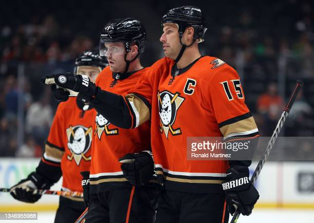 Ryan Getzlaf of the Anaheim Ducks at Honda Center on October 15, 2021 in Anaheim, California.