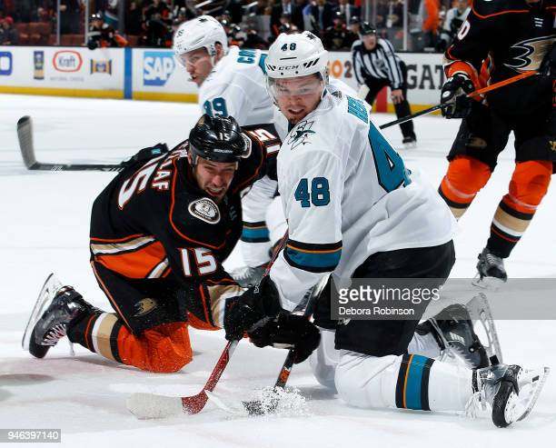 Ryan Getzlaf of the Anaheim Ducks battles in a faceoff against Tomas Hertl of the San Jose Sharks in Game Two of the Western Conference First Round...