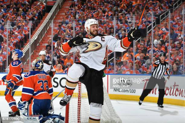 Ryan Getzlaf of the Anaheim Ducks celebrates after a goal in Game Four of the Western Conference Second Round during the 2017 NHL Stanley Cup...