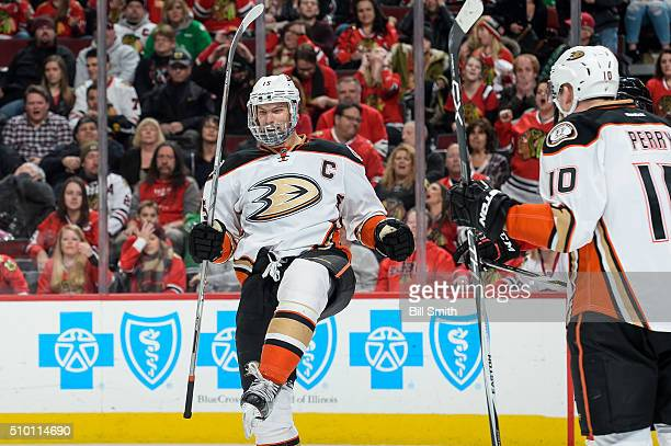Ryan Getzlaf of the Anaheim Ducks celebrates after scoring the game winning goal in overtime, resulting in a 3 to 2 win against the Chicago...