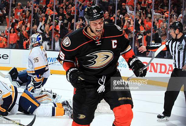 Ryan Getzlaf of the Anaheim Ducks celebrates his first period goal against Pekka Rinne of the Nashville Predators during Game One of the Western...